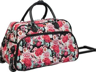 World Traveler Flower 21   inch Carry on Suitcase with wheels