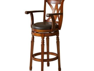 Chocolate Brown  Eclipse 30 inch Brown Armed Swivel Barstool by Christopher Knight Home