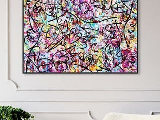 45 x 30   Black  Oliver Gal  Vita loqui by Tiago Magro  Abstract Framed Wall Art Prints Paint   Blue  Pink