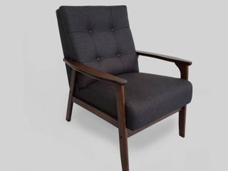 Duluth Mid Century Waffle Stitch Tufted Accent Arm Chair with Rubberwood legs by Christopher Knight Home