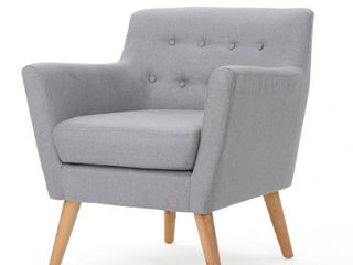 Grey  Meena Buttoned Mid Century Modern Fabric Club Chair by Christopher Knight Home