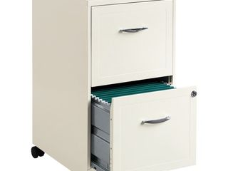 Space Solutions 18  Deep 2 drawer Mobile File Cabinet  Pearl White  Retail 81 48