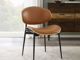 Single   Cognac  Art leon Mid Century Bentwood Accent Upholstery Dining Chairs