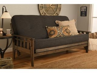 linen Charcoal  Somette Tucson Full Size Rustic Walnut Futon Set with Mattress Charcoal