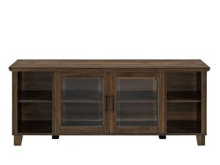 58  TV Stand with Middle Glass Doors   Dark Walnut