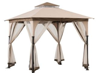 Sunjoy Shylah 8 ft  x 8 ft  Tan and Brown 2 tone Steel Gazebo with Mosquito Netting