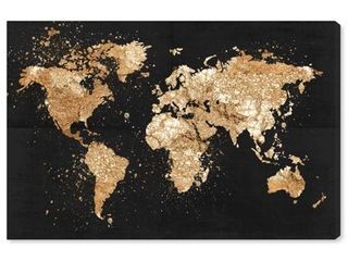 45 x 30  Oliver Gal  Mapamundi on the Rocks Night  Maps and Flags Wall Art Canvas Print   Black  Gold