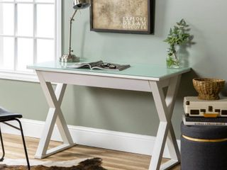 Walker Edison Metal Computer Desk with Drawer  White