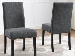 Roundhill Furniture Biony Fabric Nail Head Dining Chair Set of 2  Gray