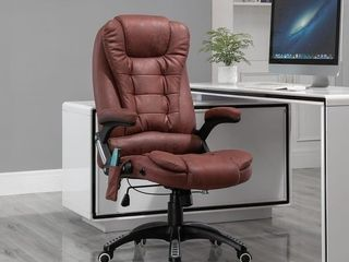 Red  Vinsetto Ergonomic Vibrating Executive Massage Office Chair  with Wheels  Adjustable Height  leatheraire Fabric