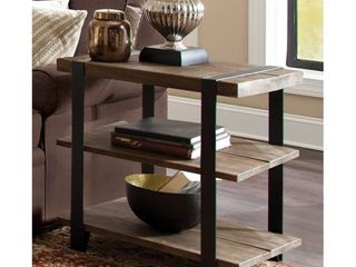 Carbon loft Kenyon Natural Metal Strap and Reclaimed Wood 2 tier End Table
