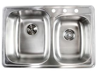 33 inch Stainless Steel Topmount Double Sink