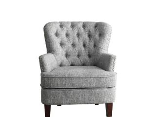Bentley Button Tufted Accent Chair with Nailhead Trim  Gray White  Retail 343 99