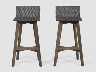 la Brea Outdoor Acacia Wood and Wicker Barstools  Set of 2  by Christopher Knight Home