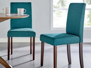 Prosper Upholstered Fabric Dining Side Chair Set of 2 in Teal