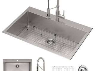 KRAUS Starka 33 inch Dual Mount Kitchen Sink and Pull Down Commercial Kitchen Faucet Combo in Stainless Steel Finish