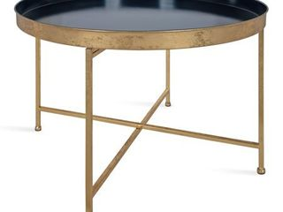 Navy Blue Gold Kate and laurel Celia Round Metal Coffee Table