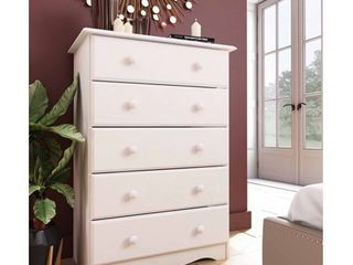 100  Solid Wood 5 Drawer Chest 53101 by Palace Imports  White Color