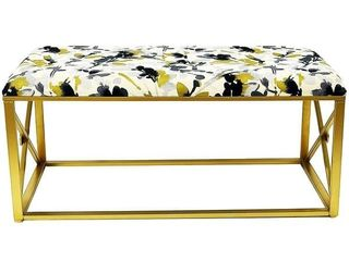 Gold with leaf Storm Modern Fabric Upholstered Bench with Foam Padding  42 Wide