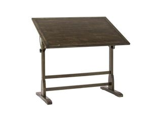 Studio Designs Vintage Solid Wood Drawing Drafting Table with 42  x 30  Adjustable Tilting Top in Distressed Black Finish