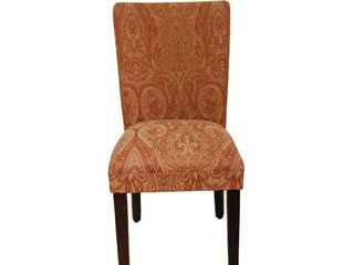 HomePop Parsons Dining Chair   Red and Gold Damask