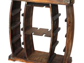 Rustic Wooden Wine Rack with Glass Holder  8 Bottle Decorative Wine Holder