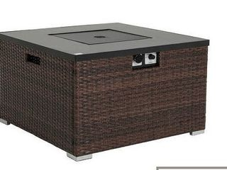 Brown  COSIEST Outdoor Propane Square Espresso Brown Wicker Fire Pit Tank Outside