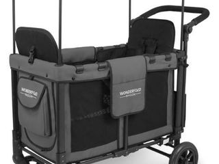 Grey  WonderFold Wagon W2 Multifunction Double Stroller with Raised Seats