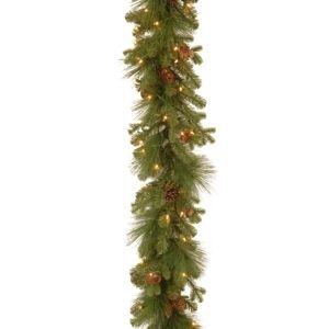 GREEN  Eastwood Spruce 9 foot Garland with Clear lights