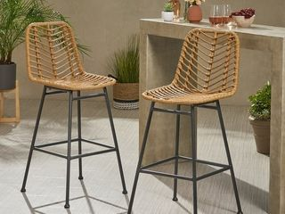 Sawtelle Outdoor Wicker Barstools  Set of 2  by Christopher Knight Home