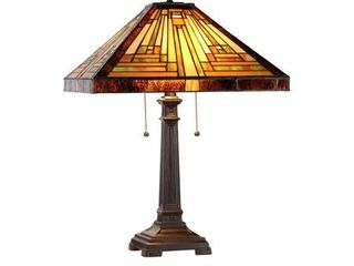 Tiffany Style Mission Design 2 light Dark Antique Bronze Table lamp