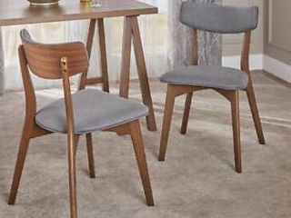 Molly Mid Century Modern Fabric Dining Chairs with Rubberwood Frame  Set of 2