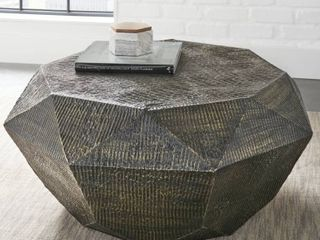 Oil Rubbed Brass  The Curated Nomad Divo Geometric Shaped Coffee Table  Retail 378 99