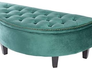 Green  Adeco Storage Ottoman Bench Tufted Half Moon Bench for living Room  Retail 164 99