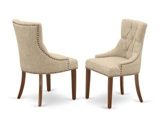 Friona Parson Chair with Mahogany leg and linen Fabric Doeskin