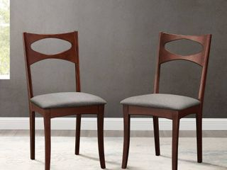 Mid Century Modern Upholstered Seat Dining Chair  Set of 2   Acorn