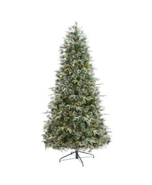Nearly Natural Snowed Tipped Clermont Mixed Pine Artificial Christmas Tree with 600 Clear led lights  Pine Cones and 1784 Bendable Branches