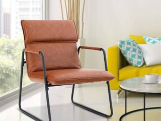 Coffee  PHI VIllA Thick Padded leather Accent Chair  Oversized Mid Century Modern Metal Frame Arm Chair   Brown