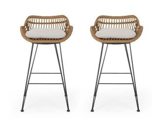 Dale Wicker Barstools with Cushions  Set of 2  by Christopher Knight Home  Retail 248 99