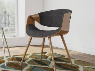 Carson Carrington Skibby Walnut Wood and Fabric Mid century Dining Chair  Retail 139 99