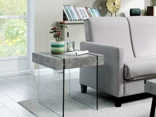Strick   Bolton Rubi Concrete look and Glass End Table