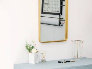 Gold  Brushed Metal Wall Mirror Glass Rounded Corner Deep Set Design