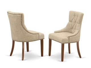 Set of 2  FRP3T05 Friona Parson Chair with Mahogany leg and linen Fabric Doeskin