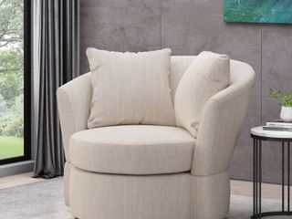Black   Beige  Smyrna Indoor Upholstered Swivel Club Chair by Christopher Knight Home