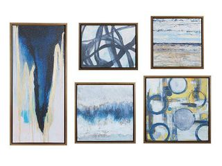 Madison Park Blue Bliss Natural Gallery Art 5 piece Set   Retail 118 99