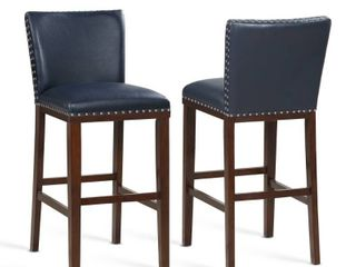 Toledo Wood and Faux leather Bar Stools  Set of 2  by Greyson living