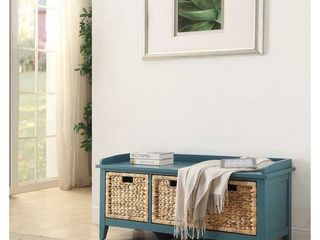 Blue  Copper Grove Canim Storage Bench with Three Brown Rattan Basket Drawers