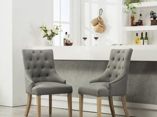 Roundhill Gray Button Tufted Solid Wood Wingback Hostess Chairs with Nail Heads  Set of 2