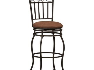 linon Swag Counter Stool  Brown  24 inch Seat Height