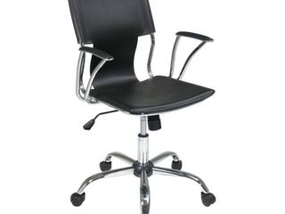 OSP Home Furnishings Dorado Office Chair with Fixed Padded Arms and Chrome Finish